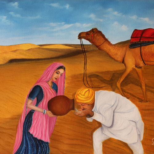 rajasthani culture - woman offering water in desert to a passenger on camel, 24 x 16 inch, goutami mishra,paintings,figurative paintings,landscape paintings,paintings for living room,paintings for bedroom,paintings for office,paintings for hotel,paintings for school,paintings for hospital,canvas,oil,24x16inch,GAL046513175