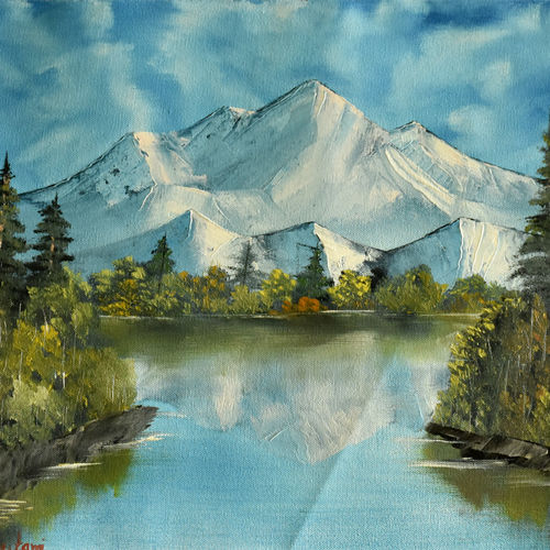 snow mountain reflection, 19 x 15 inch, goutami mishra,landscape paintings,paintings for living room,paintings,paintings for bedroom,paintings for office,paintings for hotel,canvas,oil,19x15inch,GAL04651318