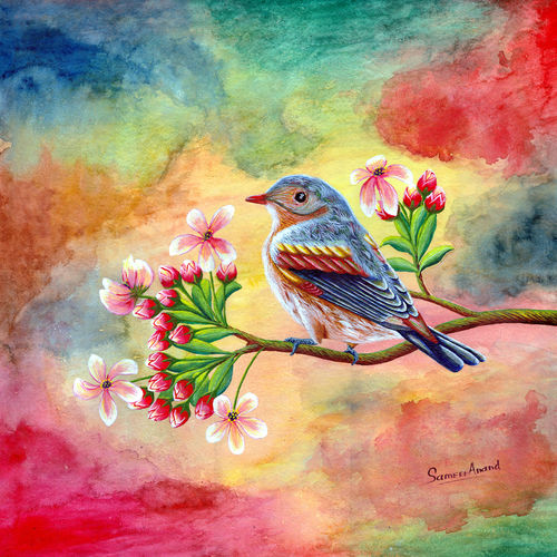 lonely bird, 22 x 22 inch, samit kumar,realistic paintings,paintings for office,paintings for hotel,paintings for office,paintings for hotel,animal paintings,handmade paper,watercolor,22x22inch,GAL0443413181