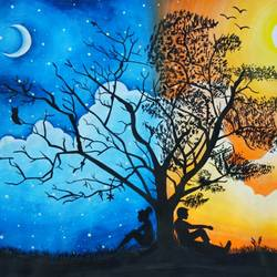 love under the same sky , 15 x 11 inch, aneri shah,conceptual paintings,paintings for bedroom,paintings for bedroom,drawing paper,poster color,watercolor,15x11inch,GAL0553413185