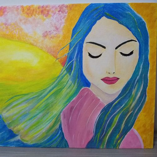 beauty in calmness, 14 x 10 inch, ankita verma,paintings,portrait paintings,paintings for living room,paintings for living room,canvas board,acrylic color,14x10inch,GAL0554013187