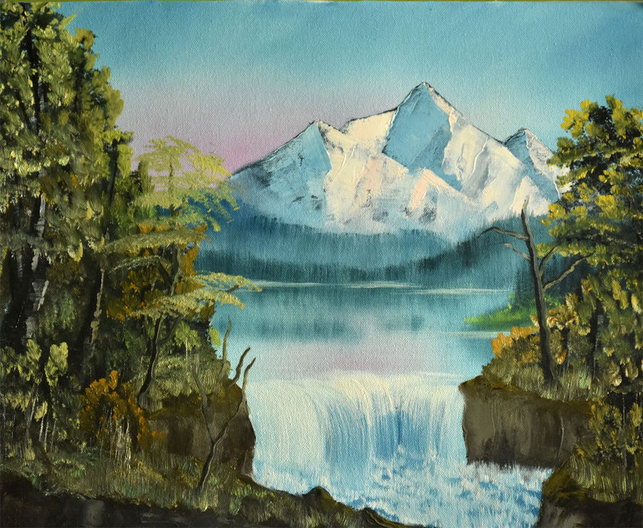snow mountain with waterfall, 19 x 16 inch, goutami mishra,landscape paintings,paintings for living room,canvas,oil,19x16inch,GAL04651319