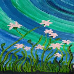 the white flowers and blue sky, 8 x 16 inch, abhik mahanti,paintings,landscape paintings,nature paintings,paintings for living room,canvas,acrylic color,8x16inch,GAL0404413193Nature,environment,Beauty,scenery,greenery