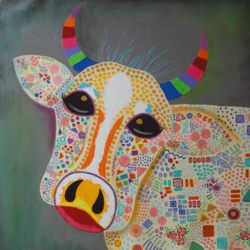 humma cow !! pop art, 30 x 30 inch, amita dand,paintings,pop art paintings,animal paintings,paintings for living room,paintings for kids room,paintings for hotel,canvas,mixed media,30x30inch,GAL0146713225