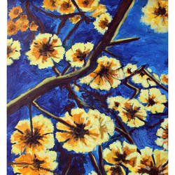 flowers from the heaven-2, 29 x 34 inch, mehul  halpati,paintings,flower paintings,paintings for living room,paintings for living room,canvas,acrylic color,29x34inch,GAL0507113228
