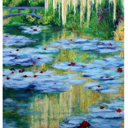 water lilies, 27 x 48 inch, mehul  halpati,paintings,nature paintings,paintings for living room,paintings for living room,canvas,acrylic color,27x48inch,GAL0507113229Nature,environment,Beauty,scenery,greenery