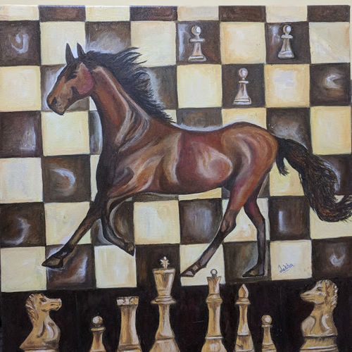 knight on a chessboard (horse), 24 x 24 inch, aboli moroney,paintings,abstract paintings,modern art paintings,conceptual paintings,abstract expressionist paintings,art deco paintings,animal paintings,realistic paintings,horse paintings,paintings for dining room,paintings for living room,paintings for bedroom,paintings for office,paintings for kids room,paintings for hotel,paintings for hospital,canvas,oil,24x24inch,GAL055613230
