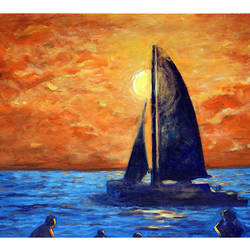 evening sea -1, 29 x 22 inch, mehul  halpati,paintings,nature paintings,paintings for living room,paintings for living room,canvas,acrylic color,29x22inch,GAL0507113231Nature,environment,Beauty,scenery,greenery