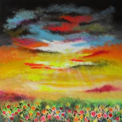 evening glory, 30 x 33 inch, amita dand,paintings,abstract paintings,landscape paintings,nature paintings,paintings for living room,paintings for bedroom,paintings for office,paintings for hotel,paintings for hospital,canvas,acrylic color,pastel color,30x33inch,GAL0146713247Nature,environment,Beauty,scenery,greenery