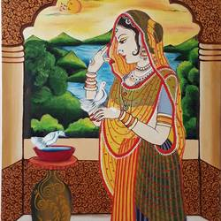 rajasthani, 16 x 24 inch, madhuri  roy,figurative paintings,paintings for dining room,paintings for living room,paintings for bedroom,paintings for office,paintings for hotel,paintings for kitchen,paintings for hospital,canvas board,oil,16x24inch,GAL0527613248