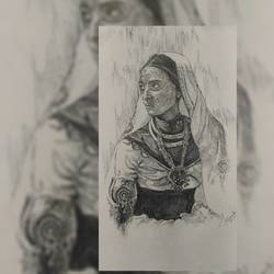 a lady , 11 x 16 inch, ishanki goel,paintings,portrait paintings,realistic paintings,paintings for dining room,paintings for living room,paintings for bedroom,paintings for hotel,thick paper,ball point pen,11x16inch,GAL0558013253