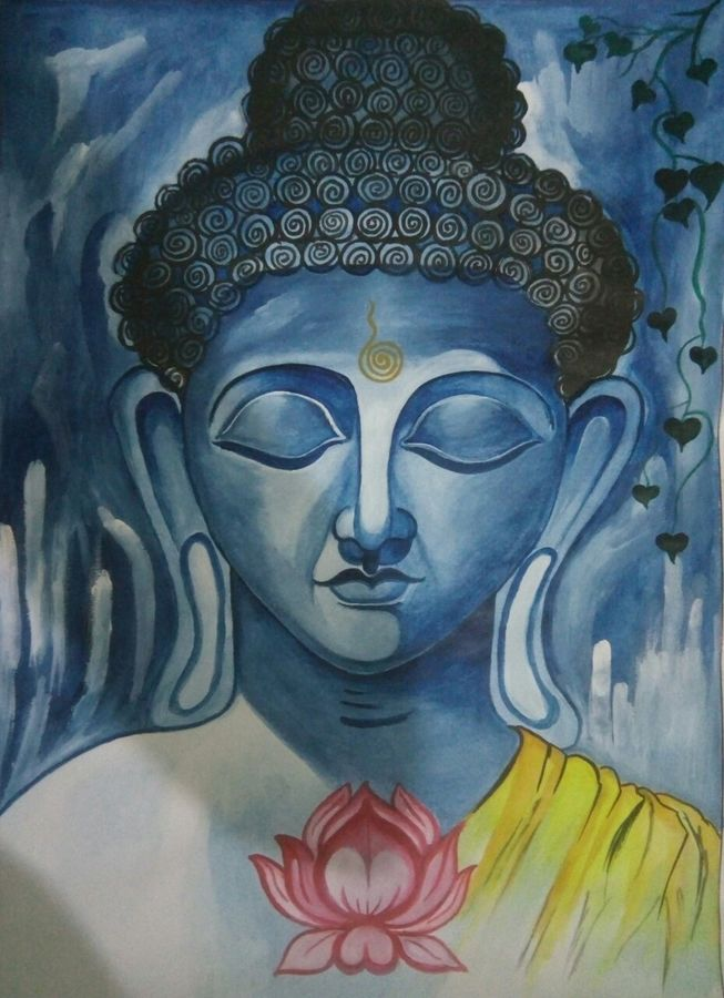 buddha, 22 x 30 inch, preeti tiwari,paintings for living room,buddha paintings,thick paper,watercolor,22x30inch,religious,peace,meditation,meditating,gautam,goutam,blue,lotus,blessing,GAL0558513258,peace,lordbuddha,inner,lordface,gautaum