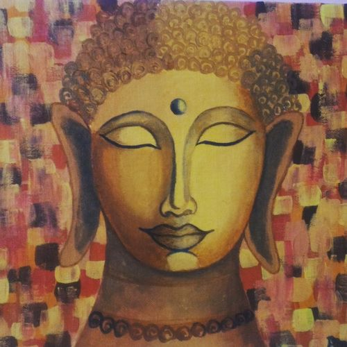 acrylic buddha, 24 x 12 inch, pranoti mulay,buddha paintings,paintings for living room,paintings for office,paintings for hotel,paintings for hospital,paintings for living room,paintings for office,paintings for hotel,paintings for hospital,canvas,acrylic color,24x12inch,religious,peace,meditation,meditating,gautam,goutam,buddha,lord,brown,face,GAL0451613262