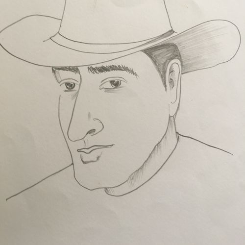 cowboy, 9 x 11 inch, namith babue,figurative drawings,paintings for dining room,paintings for living room,paintings for bedroom,paper,graphite pencil,9x11inch,GAL0559913263