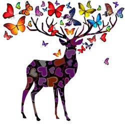 Deer with beautiful butterfly art print by Gallerist