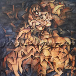mahishasura mardhani, 60 x 60 inch, janakiraman b,cubist paintings,paintings for living room,canvas,acrylic color,60x60inch,GAL05441328
