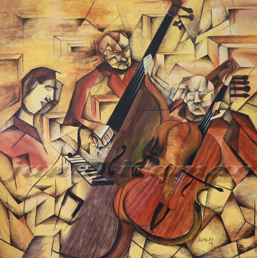 ensemble of musicians, 60 x 60 inch, janakiraman b,cubist paintings,paintings for living room,canvas,acrylic color,60x60inch,GAL05441329