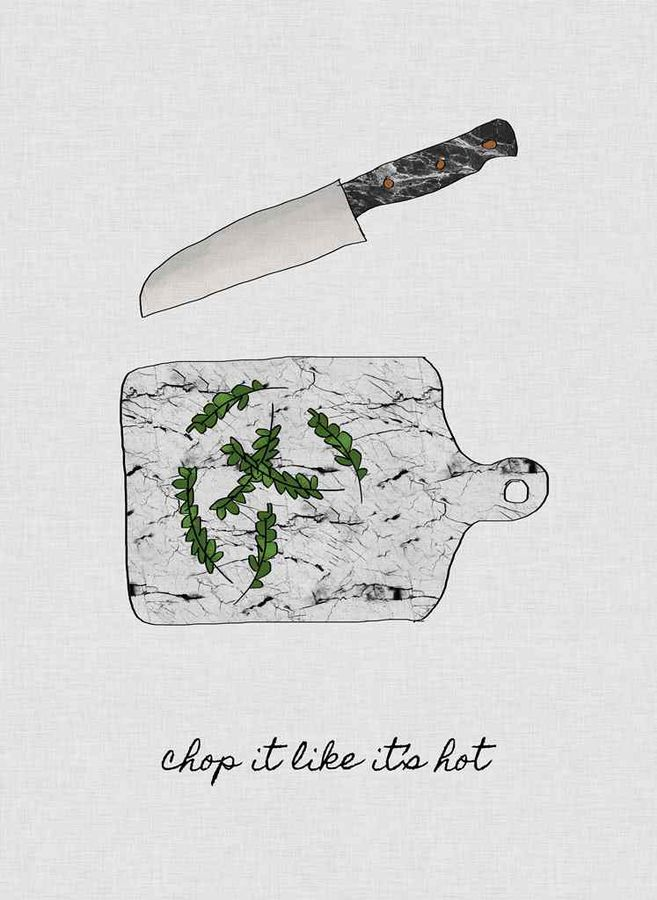 Knife with green leaf