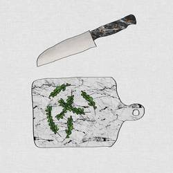 Knife with green leaf  art print by Gallerist