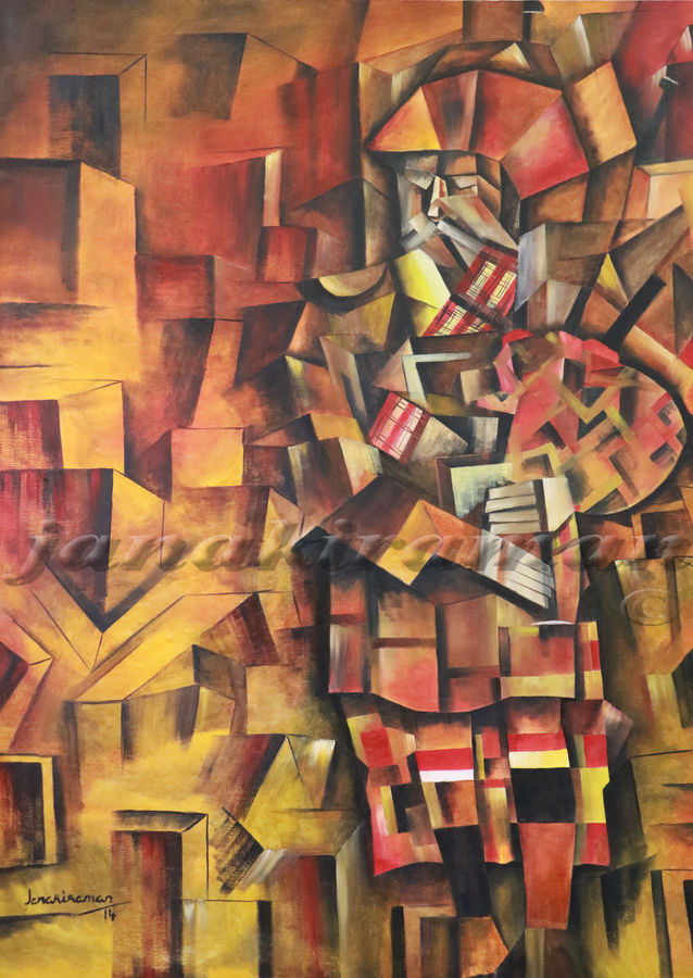 scottish piper, 48 x 60 inch, janakiraman b,cubist paintings,paintings for living room,canvas,oil,48x60inch,GAL05441330