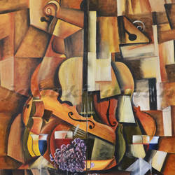violin and the wine, 36 x 48 inch, janakiraman b,cubist paintings,paintings for living room,canvas,oil,36x48inch,GAL05441331