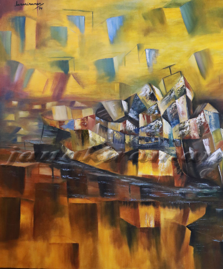 old boats, 38 x 38 inch, janakiraman b,cubist paintings,paintings for living room,canvas,oil,38x38inch,GAL05441332