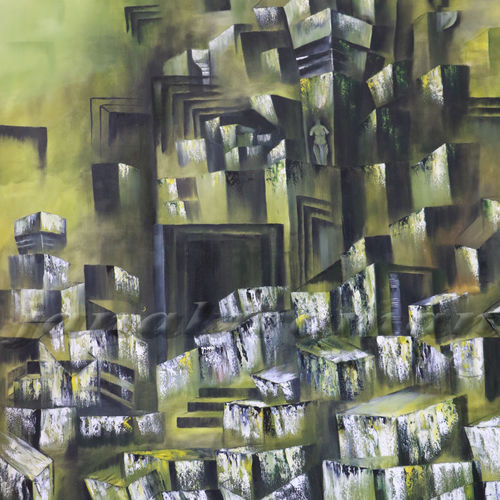 ruined temple, 48 x 48 inch, janakiraman b,cubist paintings,paintings for living room,canvas,oil,48x48inch,GAL05441333
