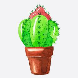 Green cactus with red cactus  art print by Gallerist
