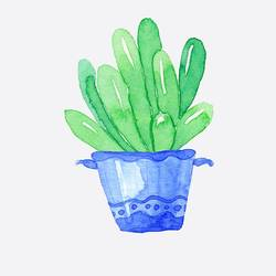Blue shaded pot with green plant  art print by Gallerist