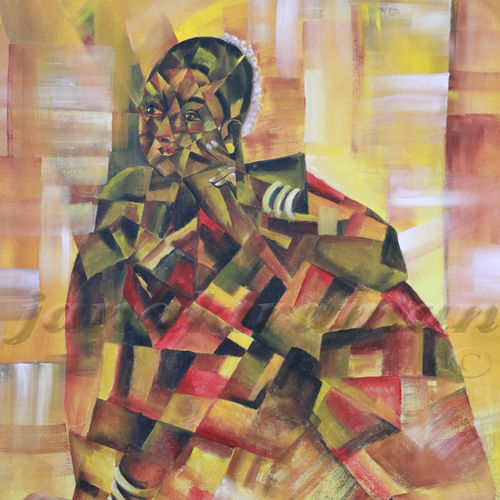 awaitng, 36 x 42 inch, janakiraman b,cubist paintings,paintings for living room,canvas,acrylic color,36x42inch,GAL05441335