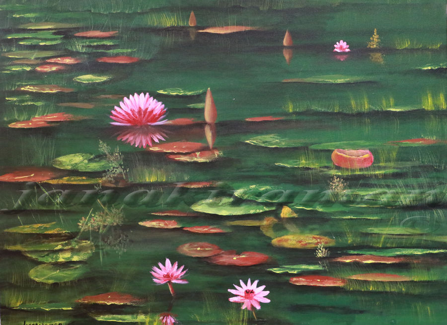 lotus pond, 30 x 40 inch, janakiraman b,nature paintings,paintings for bedroom,love paintings,canvas,acrylic color,30x40inch,GAL05441336Nature,environment,Beauty,scenery,greenery