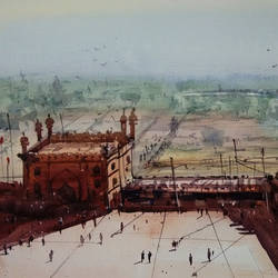 agra fort, 21 x 14 inch, sankar thakur,landscape paintings,paintings for living room,fabriano sheet,watercolor,21x14inch,GAL07134