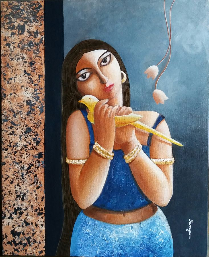 the girl with a bird, 16 x 20 inch, tanaya das,figurative paintings,paintings for dining room,canvas,acrylic color,16x20inch,GAL05471340