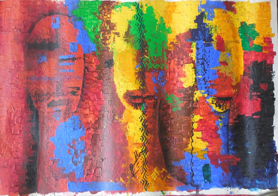 mask, 14 x 19 inch, poulami  mondal,abstract paintings,paintings for living room,thick paper,acrylic color,14x19inch,GAL05171342