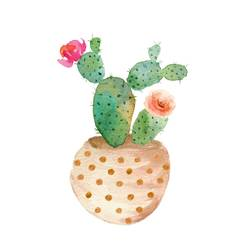 Cactus with tow flower  art print by Gallerist