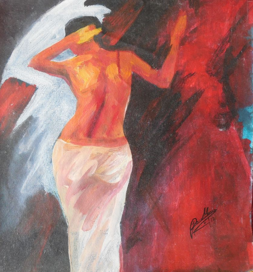 woman, 19 x 12 inch, poulami  mondal,abstract paintings,paintings for bedroom,canvas,acrylic color,19x12inch,GAL05171343