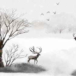 Deer in snow  art print by Gallerist
