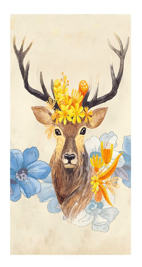Deer with a crown of flower