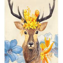 Deer with a crown of flower  art print by Gallerist