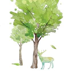 Deer with tree art print by Gallerist