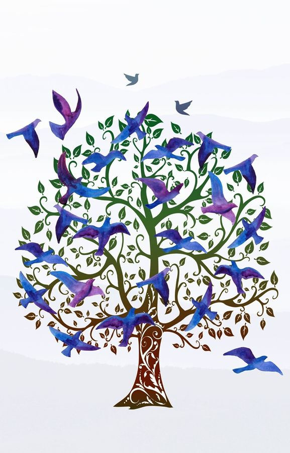 Blue tree with blue bird