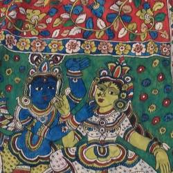 devotion of lord , 98 x 35 inch, mohan talisetty,folk art paintings,cloth,natural color,98x35inch,GAL05521346