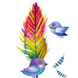 Blue bird with colour leaf  art print by Gallerist