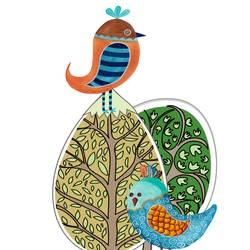 Red and blue bird with round green leaf  art print by Gallerist