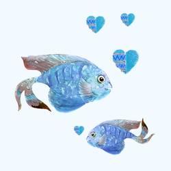 Blue fish art print by Gallerist