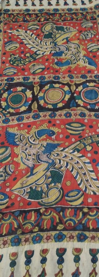 religious devotion , 98 x 35 inch, mohan talisetty,folk art paintings,cloth,natural color,98x35inch,GAL05521348
