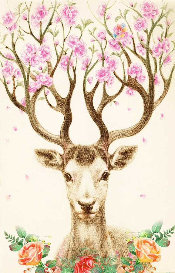 Glossy pink flower with deer