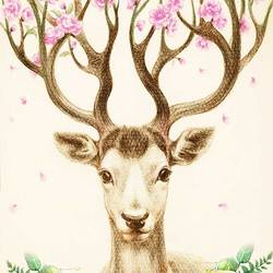 Glossy pink flower with deer  art print by Gallerist