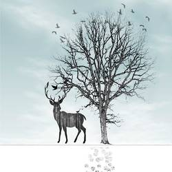 Black deer over the snow land  art print by Gallerist