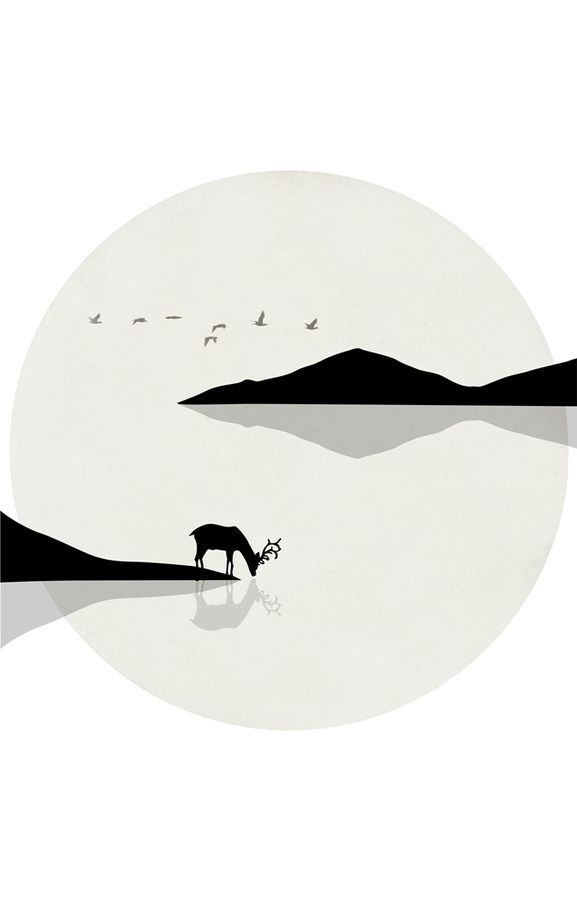 Deer with black mountain